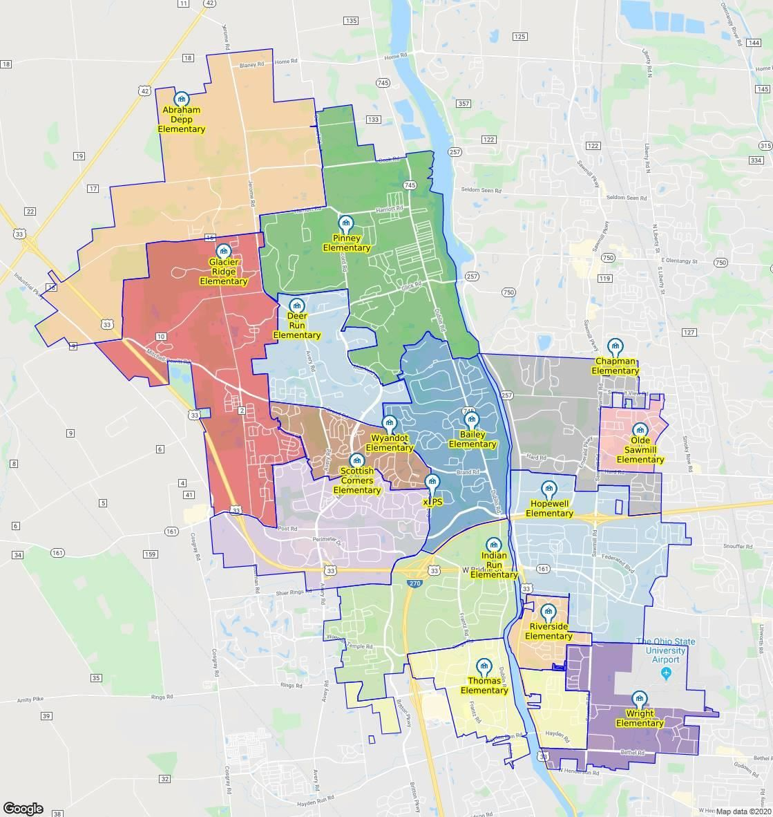 Elementary School Attendance Boundary map